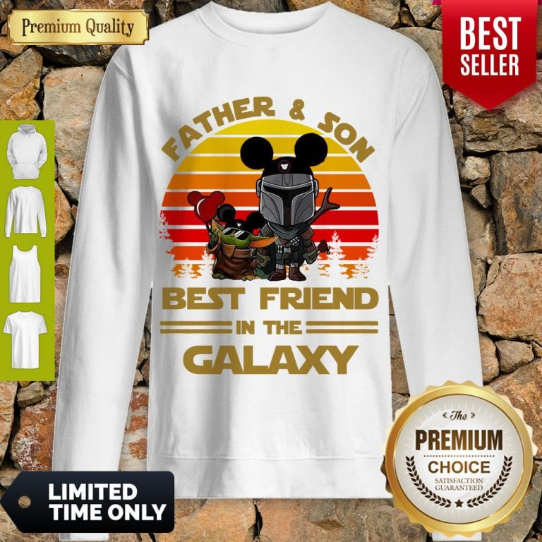 The Mandalorian And Baby Yoda Father And Son Best Friend In The Galaxy Vintage Sweatshirt