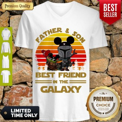 The Mandalorian And Baby Yoda Father And Son Best Friend In The Galaxy Vintage V-neck