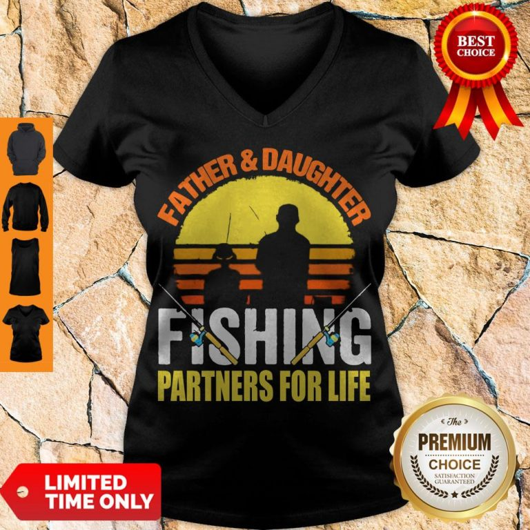 Top Father Daughter Fishing Partners For Life Vintage V-neck