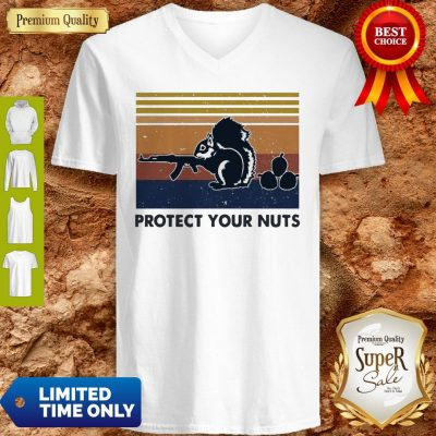 Premium Squirrel Protect Your Nuts Vintage V-neck