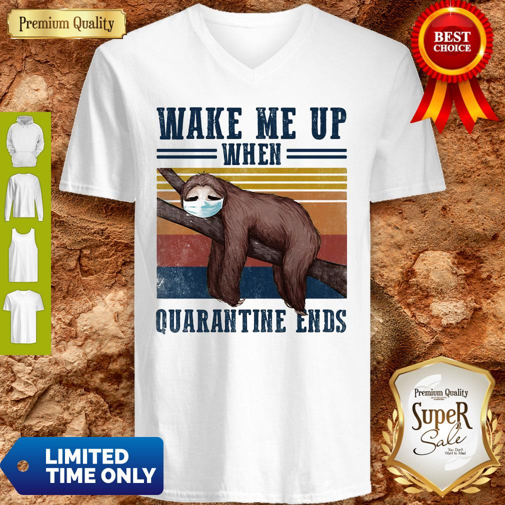Good Sloth Wake Up Be Awesome Go To Bed That's How I Roll Vintage V-neck