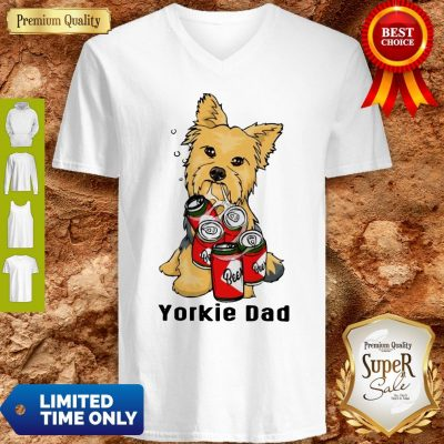 Premium Yorkie Dad And Beer V-neck