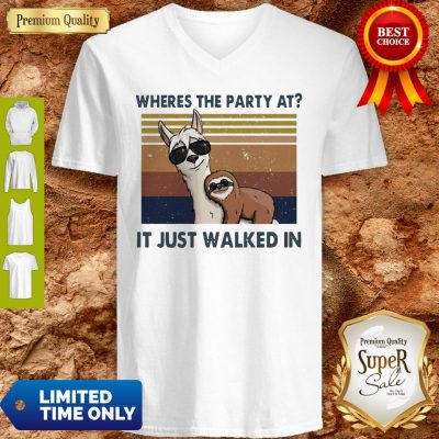 Funny Llama And Sloth Wheres The Party At It Just Walked In Vintage V-neck