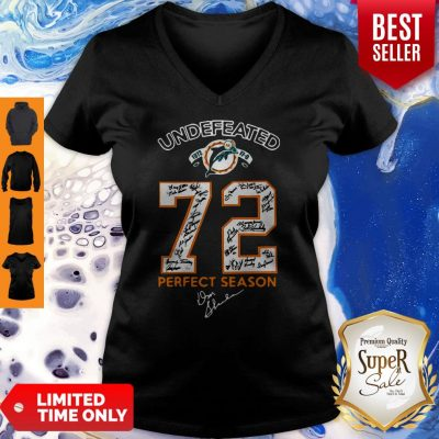Nice Miami Dolphins Undefeated 1972 72 Perfect Season Signatures V-neck
