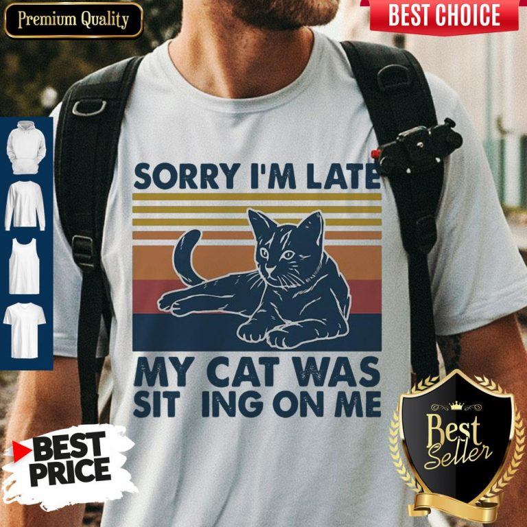 Vintage Sorry I'm Late My Cat Was Sitting On Me Vintage Shirt