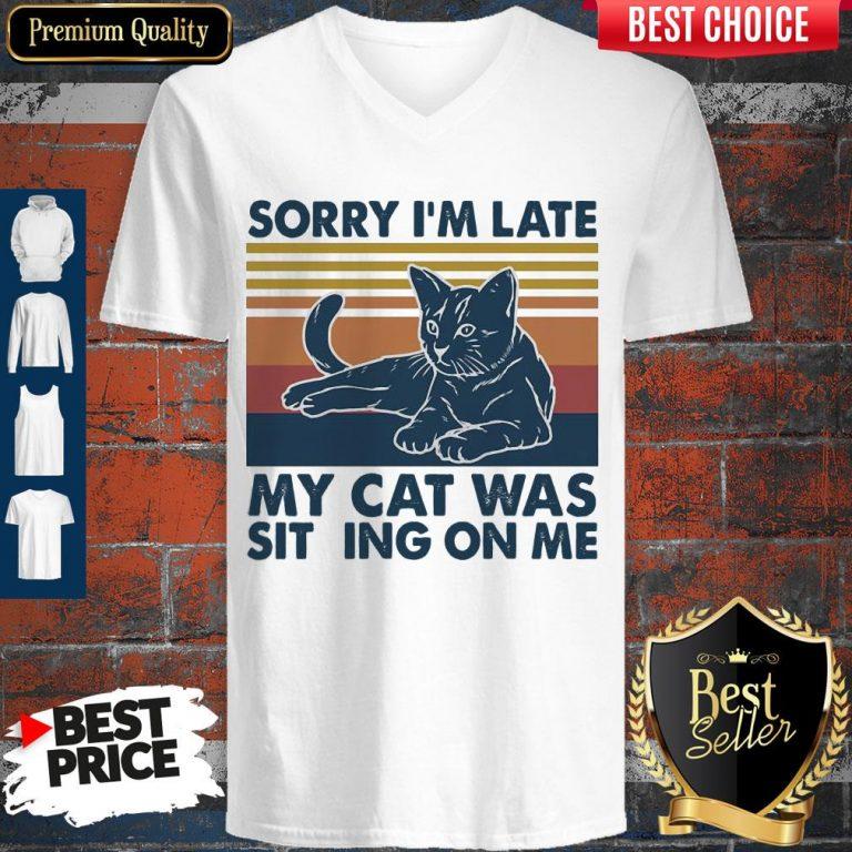 Vintage Sorry I'm Late My Cat Was Sitting On Me Vintage V-neck