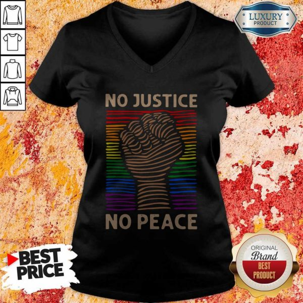Awesome LGBT No Justice No Peace V-neck