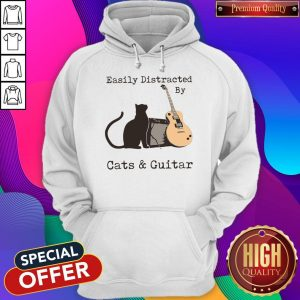 Funny Easily Distracted By Cats And Guitar Hoodie