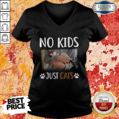 Funny No Kids Just Paw Cats V-neck