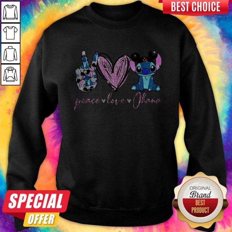 Funny Peace Love Ohana Stitch Sweatshirt