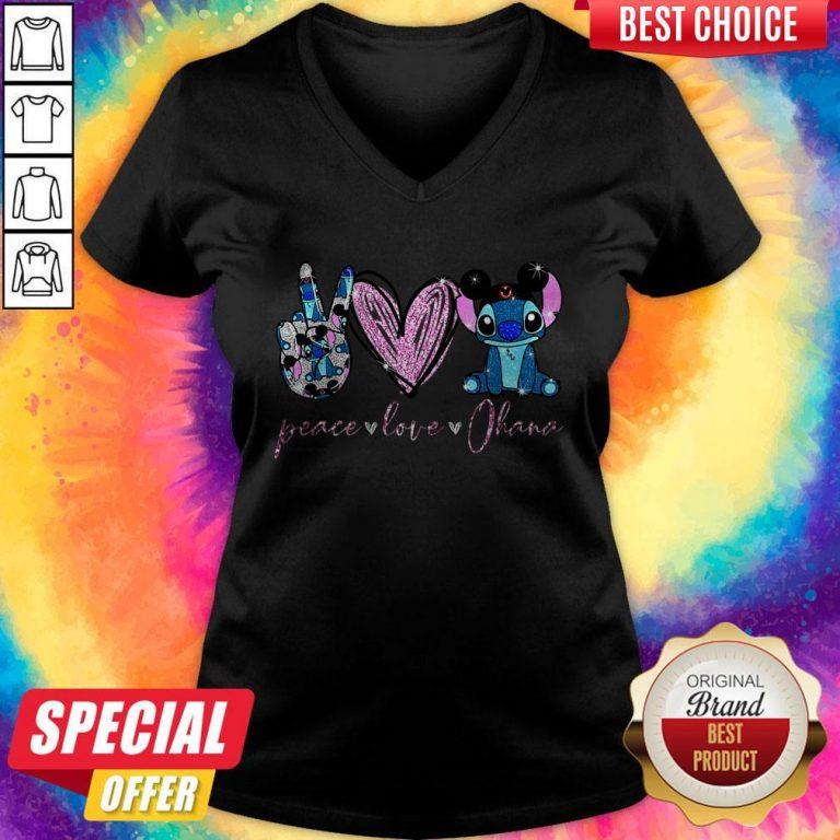 Funny Peace Love Ohana Stitch V-neck