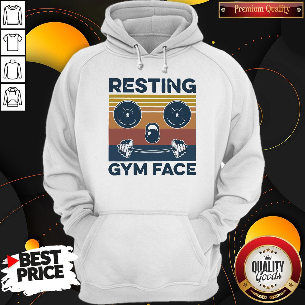 Funny Resting Gym Face Vintage Fitness Hoodie