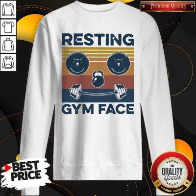 Funny Resting Gym Face Vintage Fitness Sweatshirt