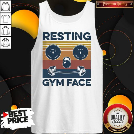 Funny Resting Gym Face Vintage Fitness Tank Top