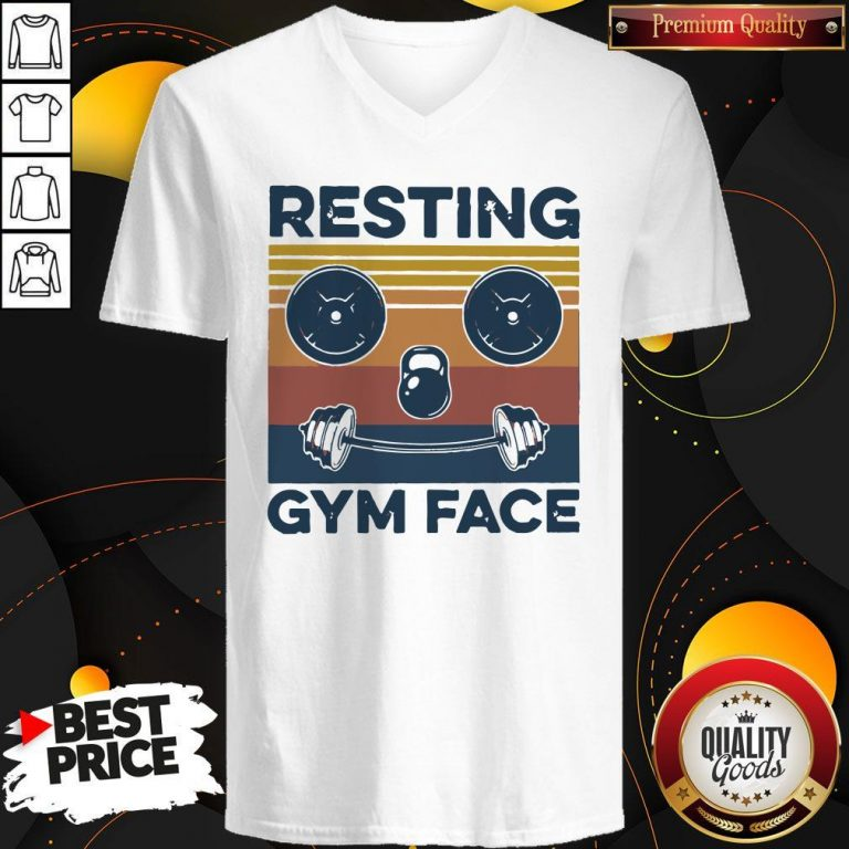 Funny Resting Gym Face Vintage Fitness V-neck