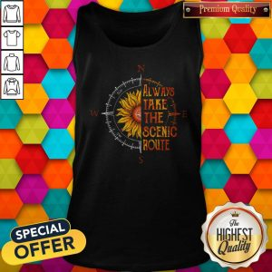 Funny Sunflower Always Take The Scenic Route Tank Top