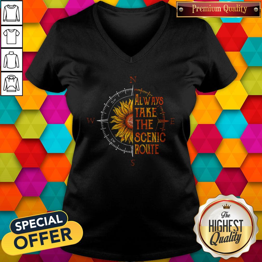 Funny Sunflower Always Take The Scenic Route V-neck
