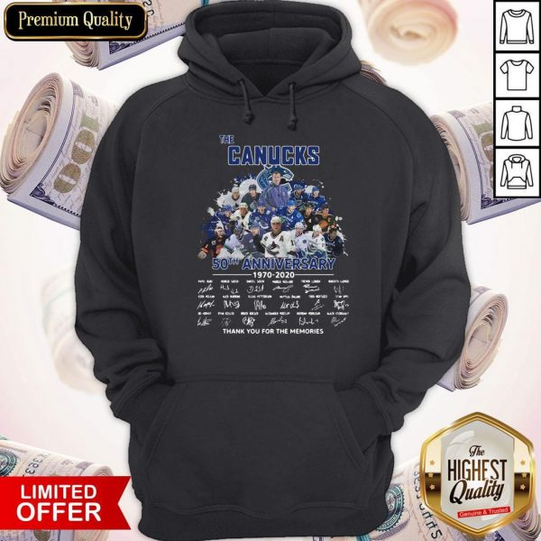 Funny The Canucks 52th Anniversary 1970 2020 Thank You For The Memories Signatures Hoodie
