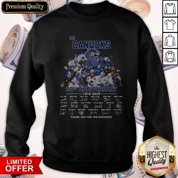 Funny The Canucks 52th Anniversary 1970 2020 Thank You For The Memories Signatures Sweatshirt
