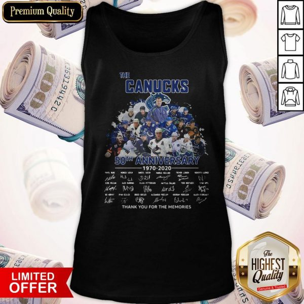 Funny The Canucks 52th Anniversary 1970 2020 Thank You For The Memories Signatures Tank Top