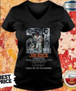 Good 21 Jim Kiick 1946 2020 Miami Dolphins 1968 1974 Thank You For The Memories Signature V-neck
