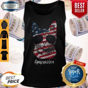 Good Ameowica Cat American Flag Tank Top