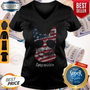 Good Ameowica Cat American Flag V-neck
