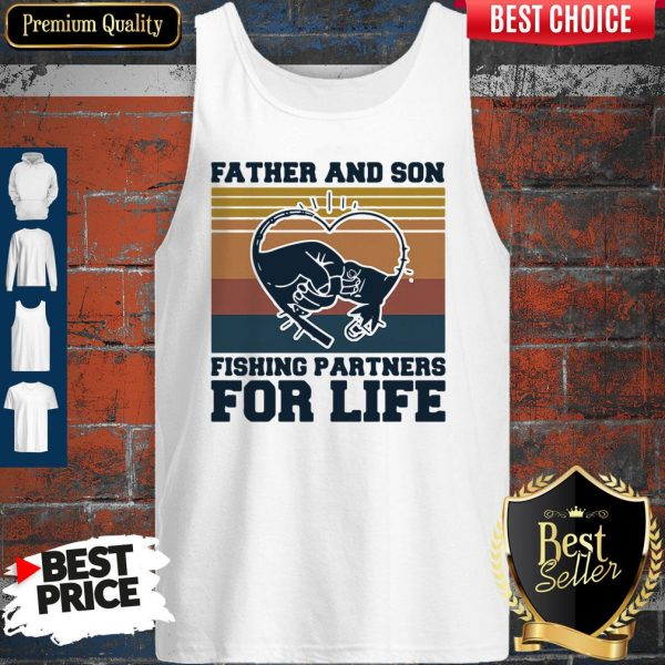 Nice Father And Son Fishing Partners For Life Hand Heart Vintage Tank Top