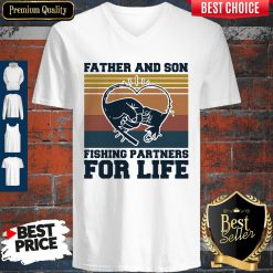 Nice Father And Son Fishing Partners For Life Hand Heart Vintage V-neck