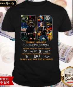 Original 50 Years Of 1970 2020 Electric Light Orchestra Thank You For The Memories Shirt