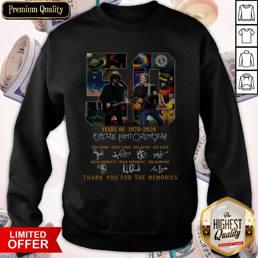 Original 50 Years Of 1970 2020 Electric Light Orchestra Thank You For The Memories Sweatshirt