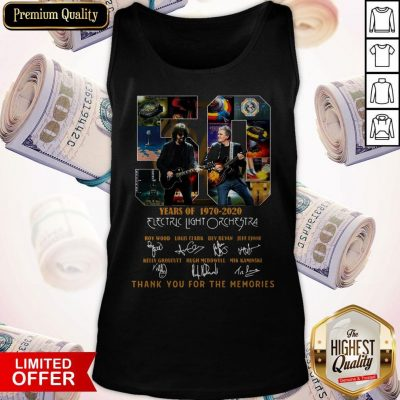 Original 50 Years Of 1970 2020 Electric Light Orchestra Thank You For The Memories Tank Top