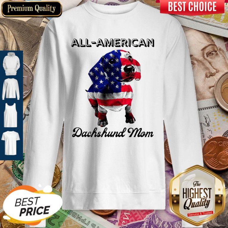 Original All American Dachshund Mom American Flag Sweatshirt