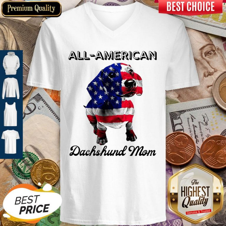 Original All American Dachshund Mom American Flag V-neck