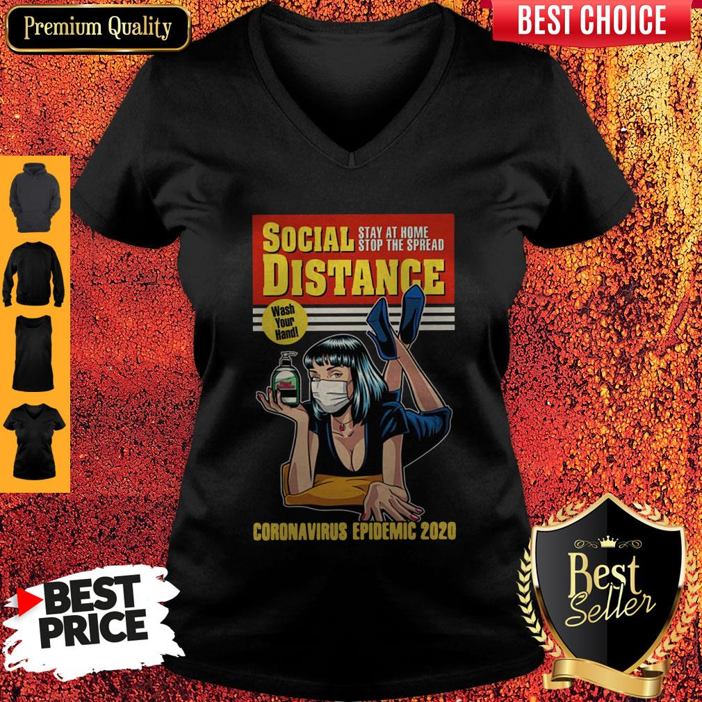 Original Social Distance Stay At Home Stop The Spread Corona Virus Epidemic 2020 V-neck