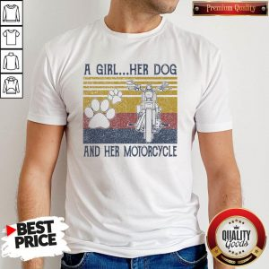 Perfect A Girl Her Dog And Her Motorcycle Vintage Shirt