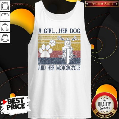 Perfect A Girl Her Dog And Her Motorcycle Vintage Tank Top