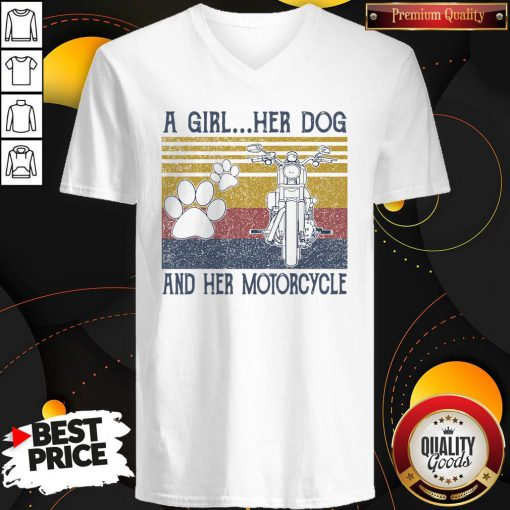 Perfect A Girl Her Dog And Her Motorcycle Vintage V-neck