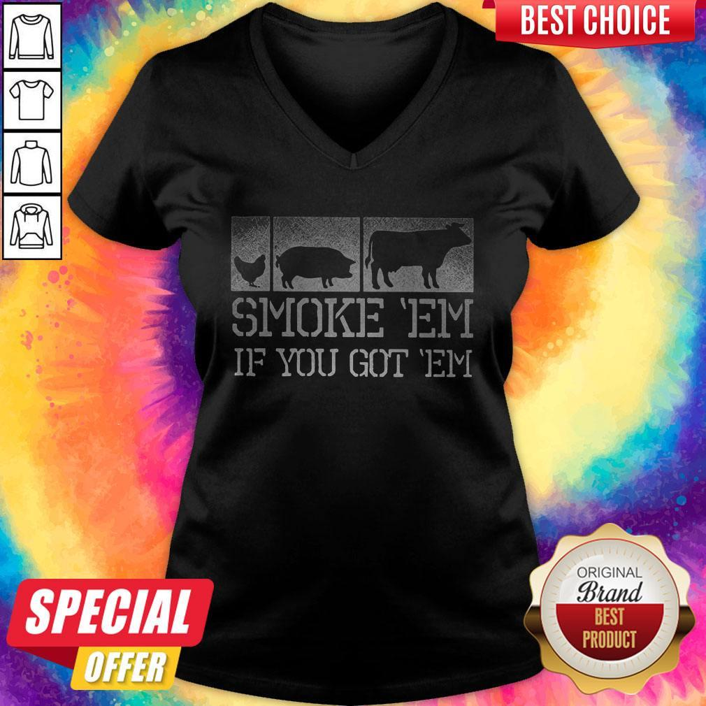 Perfect Meat Lover Smoke 'Em If You Got 'Em BBQ Father's Day V-neck
