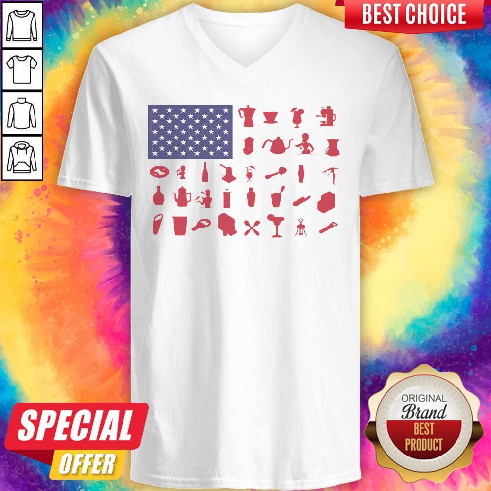 Premium Bartender American Flag V-neck