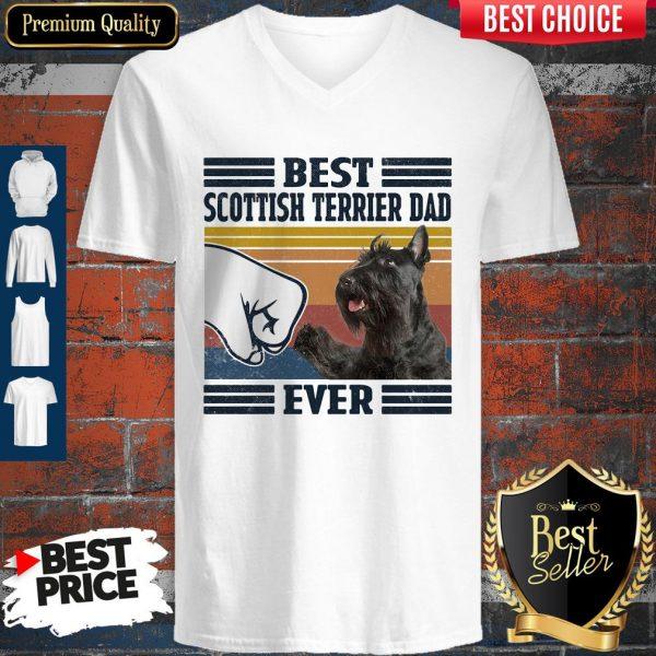 Premium Best Scottish Terrier Dad Ever Vintage V-neck