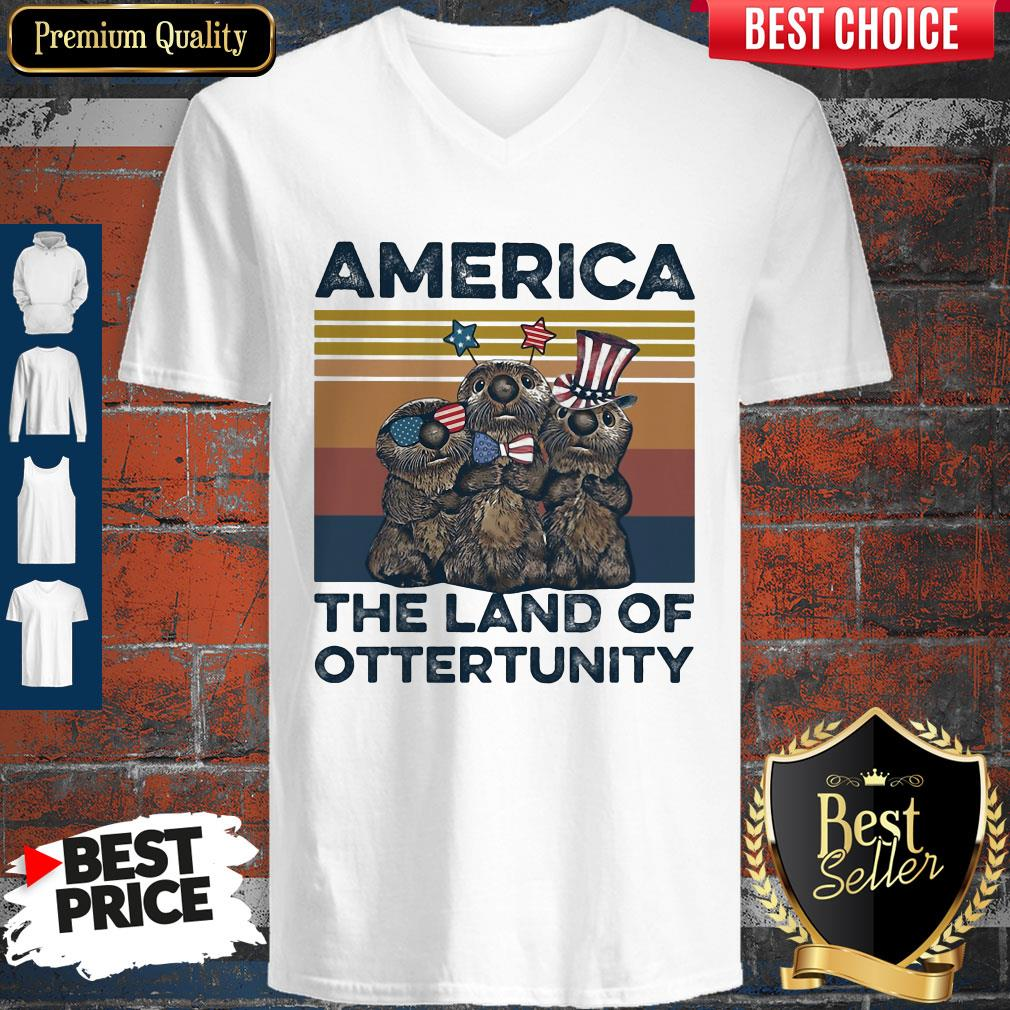 Pretty America The Land Of Otter Unity Independence Day Vintage V-neck