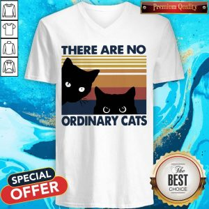 Pretty Black Cats There Are No Ordinary Cats Vintage V-neck