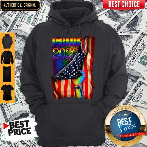 Pretty LGBT Pride 2020 American Flag Hoodie