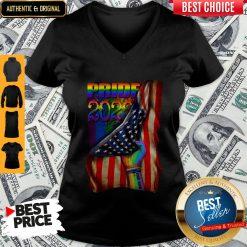 Pretty LGBT Pride 2020 American Flag V-neck