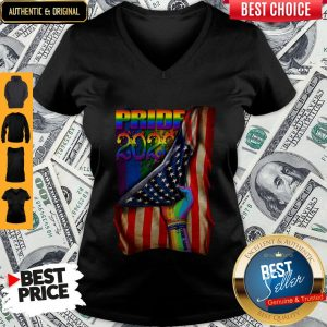 Pretty LGBT Pride 2020 American Flag V-neck
