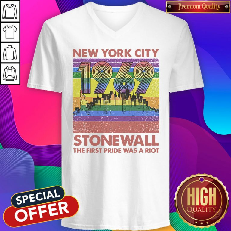 Top New York City 1969 Stonewall The First Pride Was A Riot Lgbt Pride Vintage V-neck