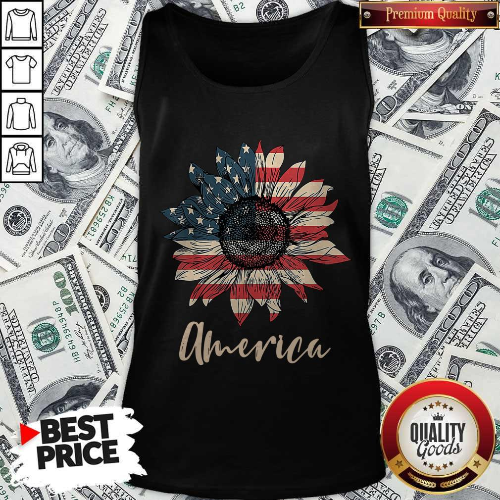 Top Sunflower America Happy Independence Day Tank Top