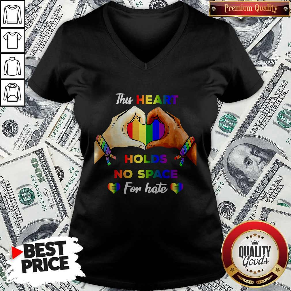 Top This Heart Holds No Space For Hate LGBT V-neck