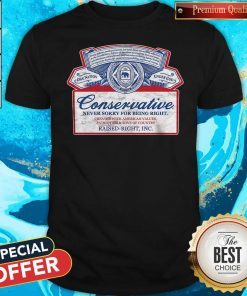 Awesome Conservative Never Sorry For Being Right Shirt